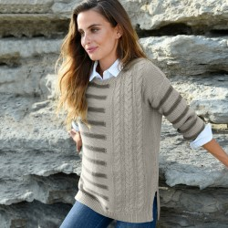 Pull col rond rayures torsades