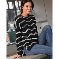 Pull jacquard chevrons maille toucher cachemire