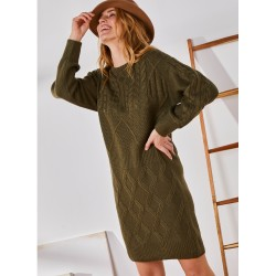 Robe pull col rond maille torsadée toucher mohair