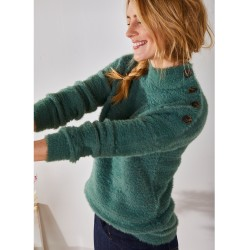 Pull col montant maille poilue fantaisie