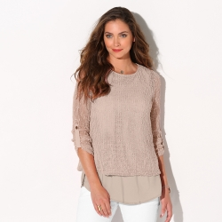 Sous-pull stretch viscose - corailBlancheporte