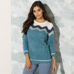 Pull col rond jacquard maille douceur