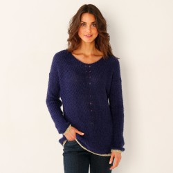 Pull col V maille perlée