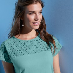 Tee-shirt broderie anglaise manches courtes