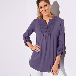 Tee-shirt boutonné manches longues broderie anglaise