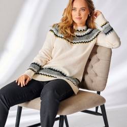 Pull jacquard manches longues toucher mohair