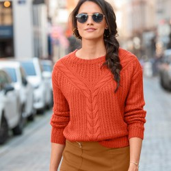 Pull torsades manches longues toucher mohair