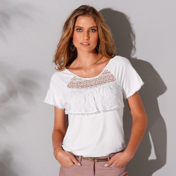 Tee-shirt volant manches courtes