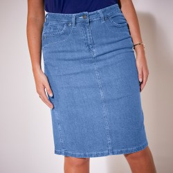 Jupe amincissante denim extensible
