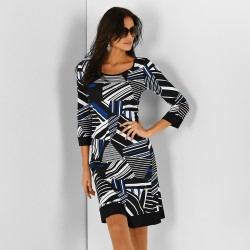 Robe graphique manches 3/4