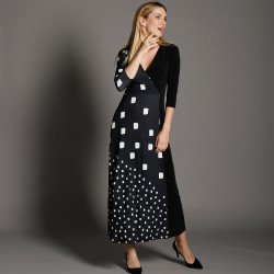 Robe maille, longue col cache-coeur