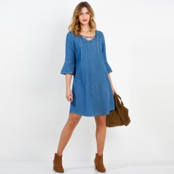 Robe denim lacée