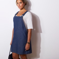 Robe chasuble salopette en denim
