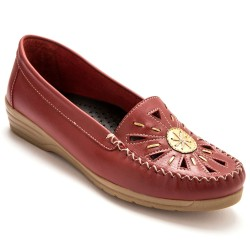 Mocassins cuir largeur confort - rouge