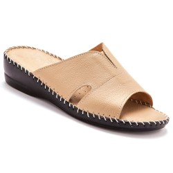 Mules extra larges cuir - beige