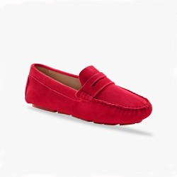 Mocassins en cuir velours - rouge