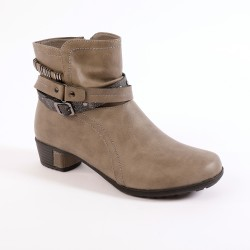 Boots taupe sangles fantaisie