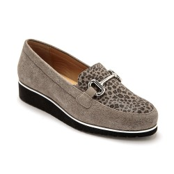 Mocassins cuir taupe