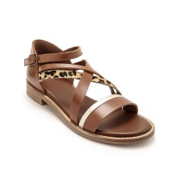Sandales cuir multi brides fantaisie grande largeur - marron