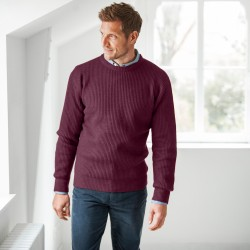 Pull col rond côte anglaise 30% laine