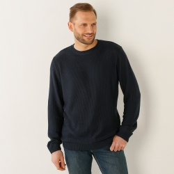 Pull col rond maille point de riz
