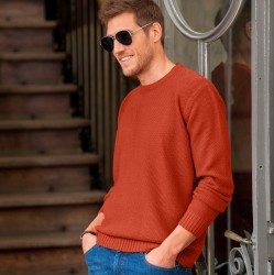 Pull col rond maille fantaisie manches longues