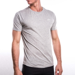 Tee-shirt gris chiné col rond manches courtes