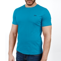 Tee-shirt turquoise col rond manches courtes