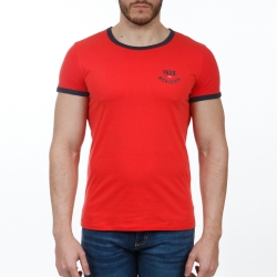 Tee-shirt rouge col rond manches courtes