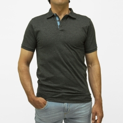 Polo anthracite chiné manches courtes en maille jersey