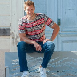 Tee-shirt rayé multicolore manches courtes