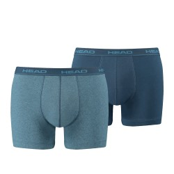 Boxer coton stretch - lot de 2 bleu chiné et marine