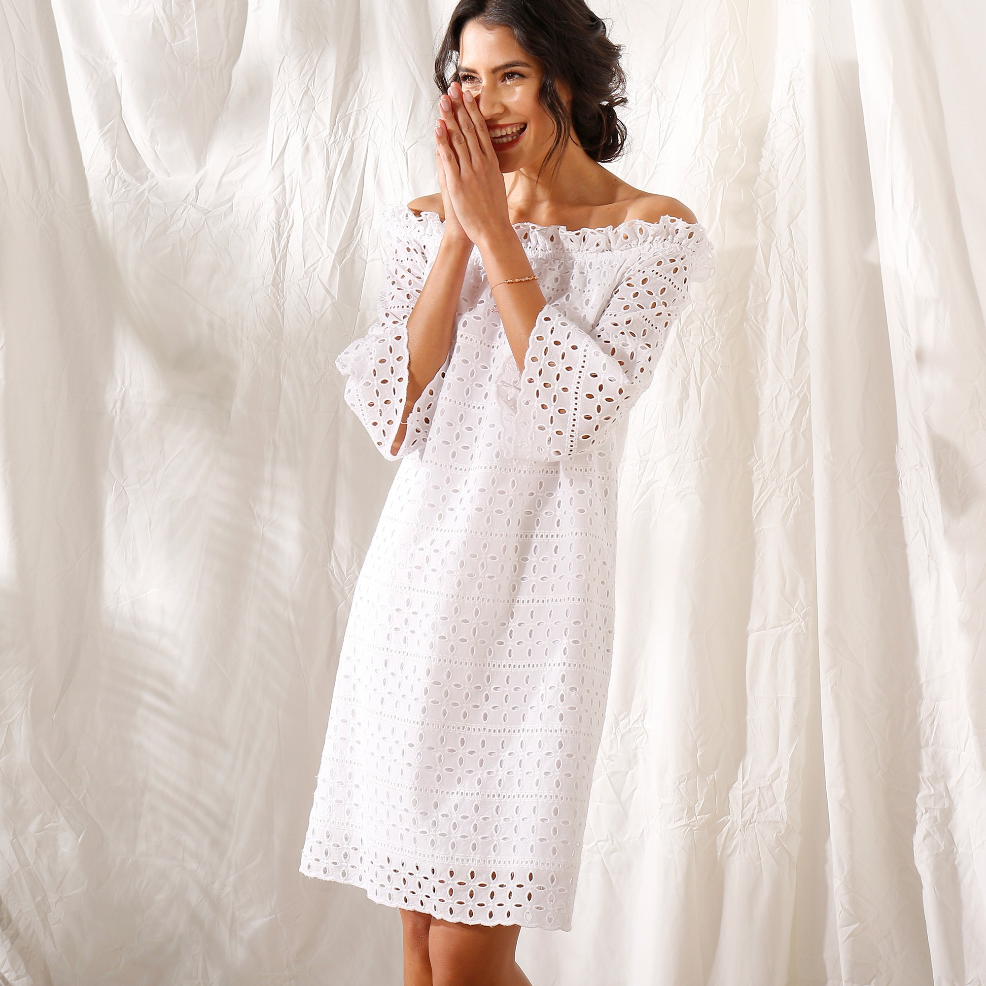 4aea9d7db51 Robe courte broderie anglaise - Blancheporte