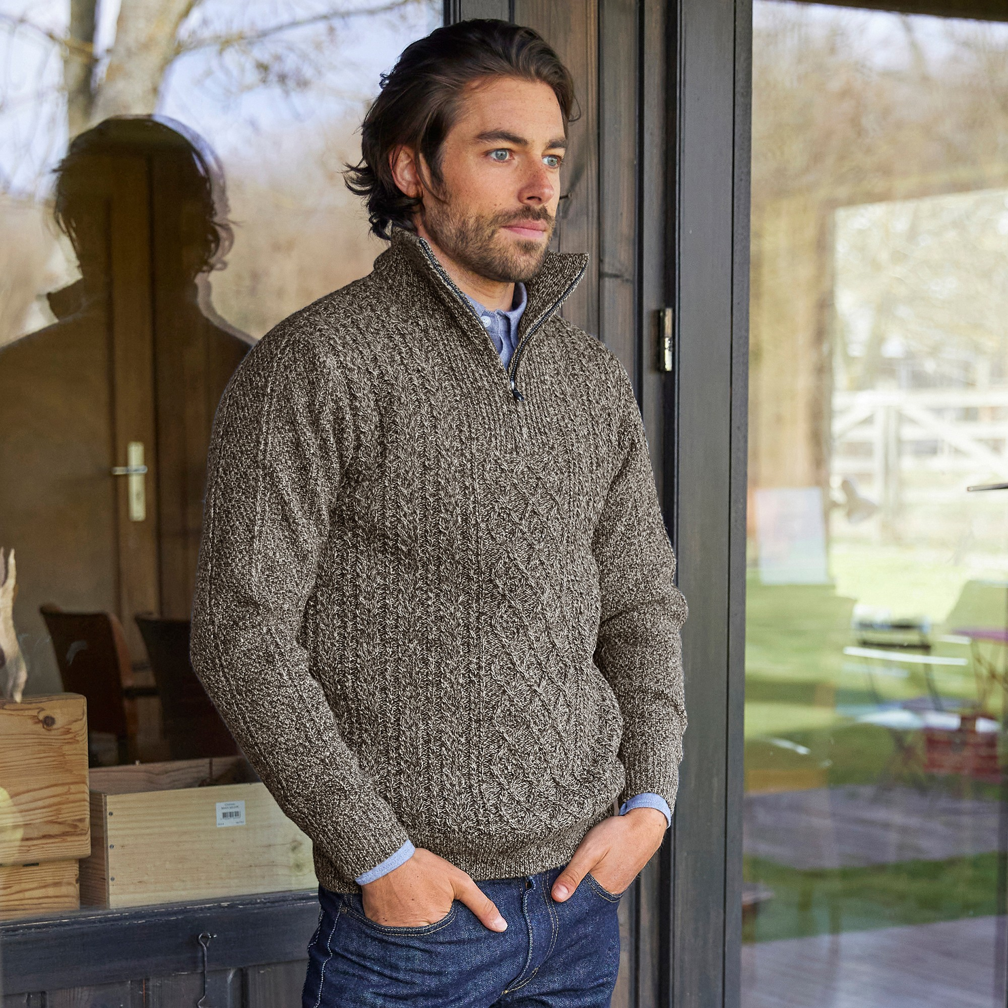 pull camionneur homme blancheporte