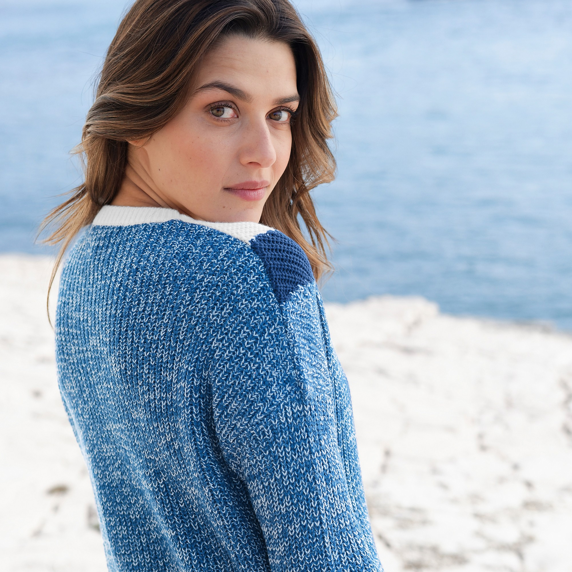 Pull col rond jacquard Blancheporte
