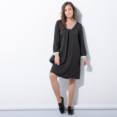 Robe pois manches longues. Robe pois manches longues