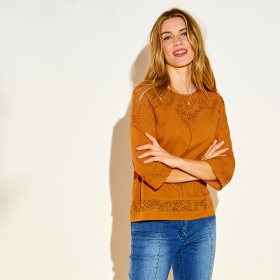 Blouse Broderie anglaise manches 3/4