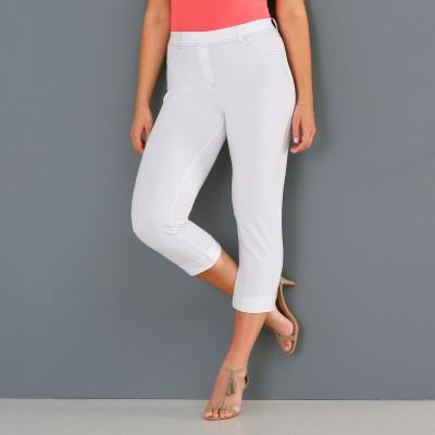 Pantacourt maille jean extensible - Mode Grande Taille. Pantacourt maille jean extensible - Mode Grande Taille