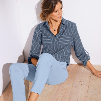 Chemise jean rayée manches longues