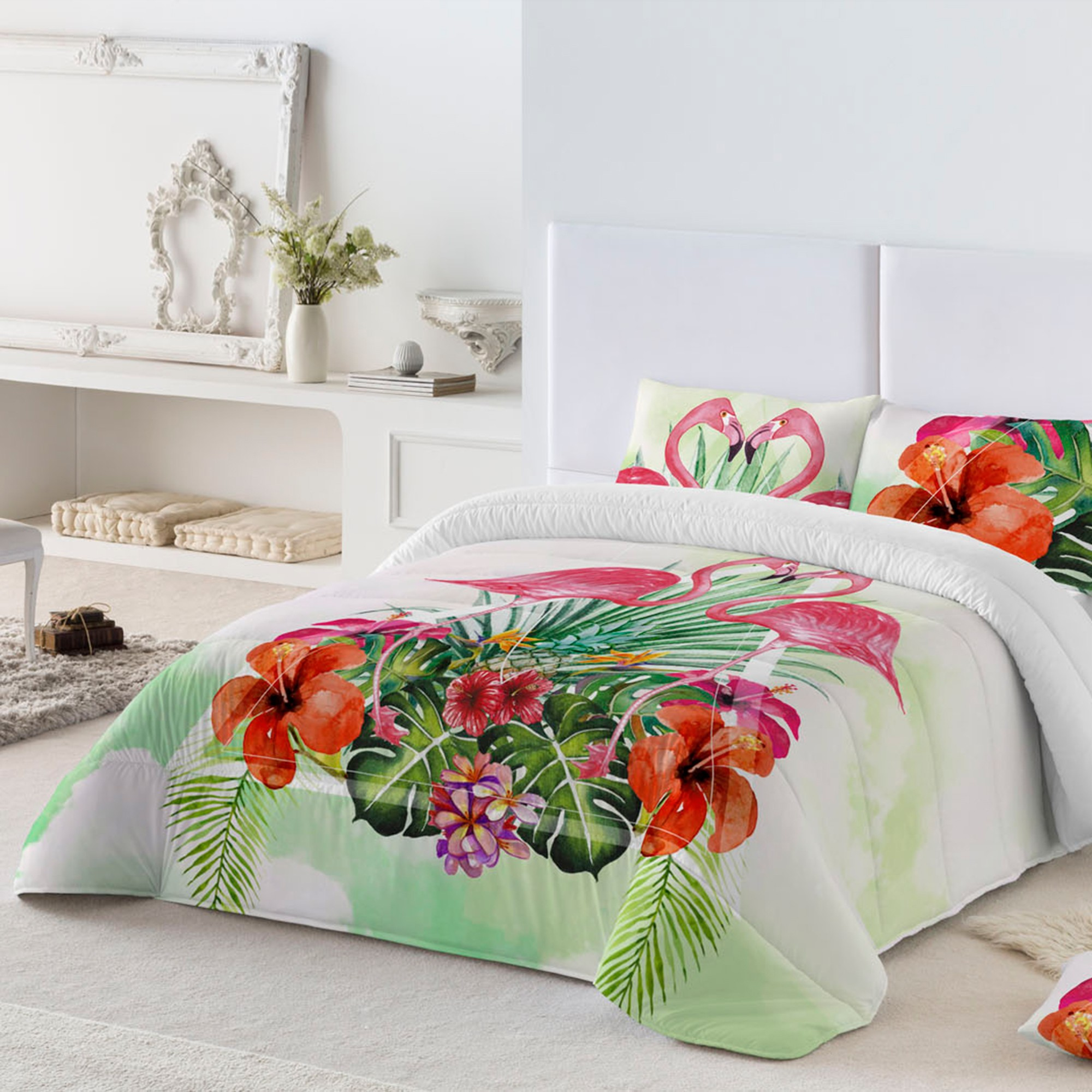 couette microfibre imprim flamants roses 200g m blancheporte. Black Bedroom Furniture Sets. Home Design Ideas