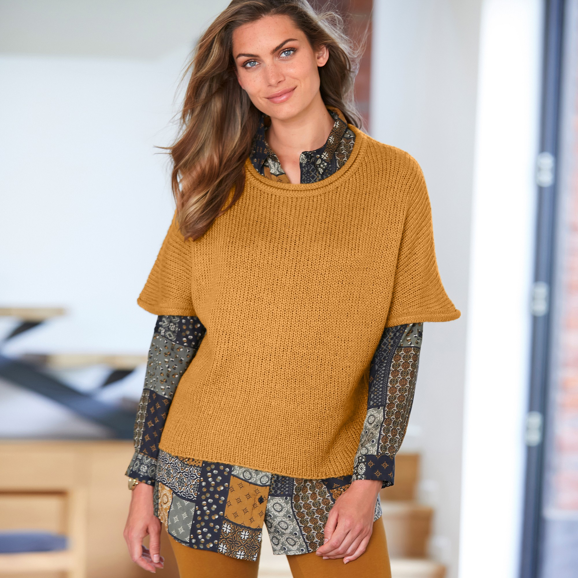 Pull poncho manches coudes - blancheporte